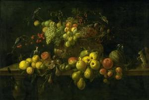 Vruchtenstilleven met vogels en een eekhoorn