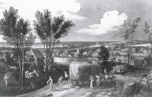 Landschap met hooiwagen