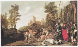 Het berouw van Manasse: hij verwijdert de stenen beelden uit de tempel des Heren  (2 Kronieken 33:15)