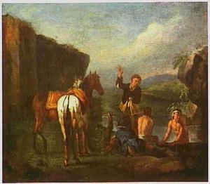 Italianiserend landschap met badende soldaten