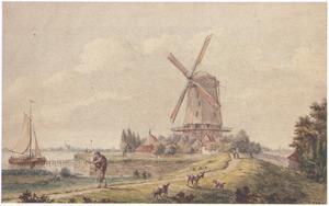 Landschap met molen bij een rivier