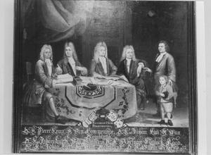 Groepsportret van de regenten en de binnenvader van het Burgerweeshuis Zierikzee, 1719