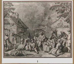 Schaapscheerders in een dorp
