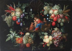 De Heilige familie omgeven door een guirlande van vruchten en bloemen
