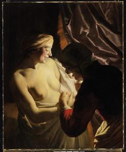 Bij kaarslicht ontbloot een jonge vrouw haar bovenlichaam opdat een oude vrouw een vlo kan vangen