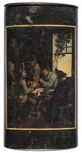 Sigarenkoker met een afbeelding van rokende en kaartspelende boeren