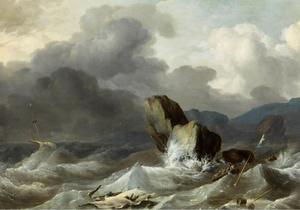 Schipbreuk op een rotsachtige kust bij vliegende storm