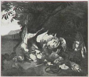 Jachtbuit van hazen en gevogelte onder een boom; rechts een hond