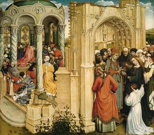 Het wonder van Jozefs bloeiende staf (links); het huwelijk van Maria en Jozef (rechts)