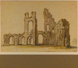 Rijnsburg, ruïne van de abdij gezien vanuit het zuiden