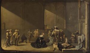 Interieur met soldaten de buit inspecteren en een smekende vrouw