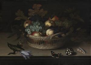 Stilleven van vruchten in een mand, met daarvoor een tulp, vlinders en schelpen, op een stenen plint