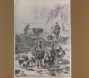 Herder en herderinnen met vee op een rotsachtig pad