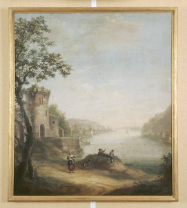 Rivierlandschap met rotspartij en kasteelruïne