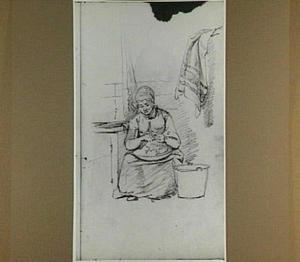 Aaardappelschillende vrouw in keuken