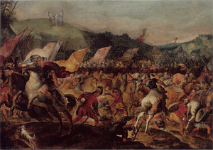 Mozes ondersteund door Aäron en Chur tijdens het gevecht van de Israelieten tegen de Amalekieten (Exodus 17:10-12)