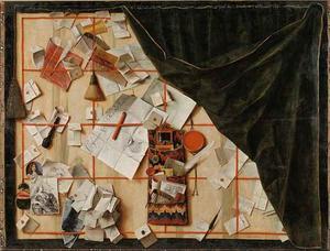 Trompe l'oeil van een brievenbord met de proclamatie van koning Christiaan V van Denemarken