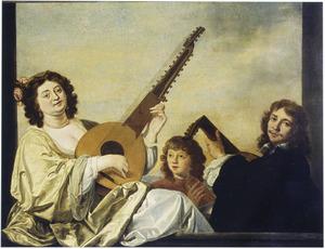 Musicerende man en vrouw, met een zingende jongen