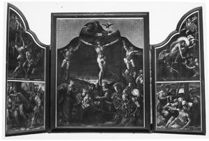 De doornenkroning en de kruisdraging (links), de kruisiging (midden), Christus daalt af in het voorgeborcht en de bewening (rechts)