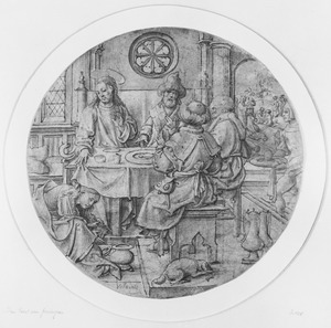 Een vrouw wast de voeten van Christus tijdens de maaltijd in het huis van Simon de farizeër (Mattheus 26:6-13)