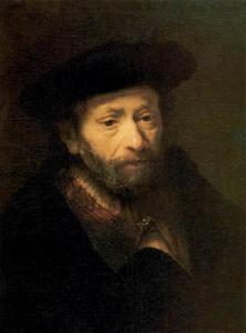 Borststuk van een man met baard en baret