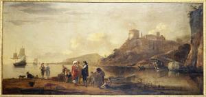 Zuidelijk kustgezicht met kooplui converserend op de oever; op de rede een koopvaardijschip