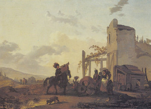 Italianiserend landschap met trompetter en soldaat pratend met boeren bij een drinkplaats