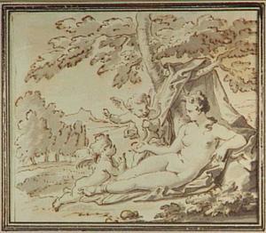 Rustende Venus met twee cupido's