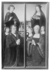 Portret van een stichter met zoon en Johannes de Evangelist (links); portret van een stichtster met drie dochters en een vrouwelijke heilige (rechts)
