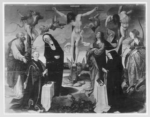 De kruisiging met stichterspaar en de HH. Petrus en Margaretha
