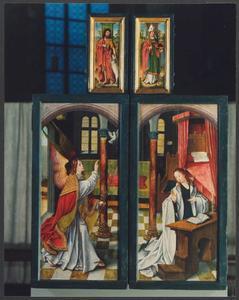 Johannes de Doper (buitenzijde linker bovenluik); H. Nikolaas (buitenzijde rechter bovenluik); Annunciatie (buitenzijde linker- en rechterluik)