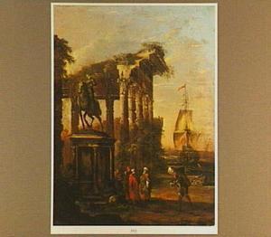 Kade met klassieke ruïne en ruiterstandbeeld met daarvoor enige figuren