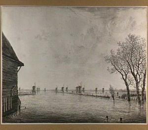 Gezicht op de Over- en Nederwaard bij Dordrecht tijdens de overstromingen van januari 1809
