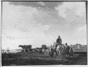 Reiziger te paard bij herders en hun kudde langs de rivier de Dort bij Dordrecht