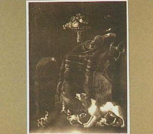 Hond met jongen bij een tafel met een perzisch kleed; links een papegaai