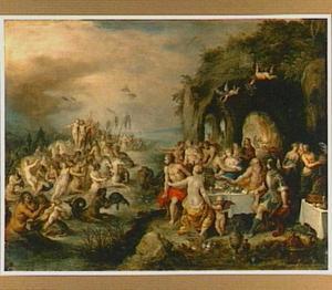 Een godenverzameling op het strand met op zee de triomf van Neptunus en Amfitrite
