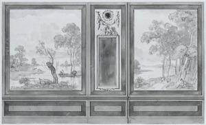 Zijwand met twee behangselvlakken ter weerszijden van een paneel met spiegel
