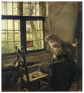 Oude vrouw die sok naait
