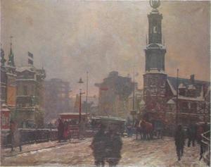 Muntplein Amsterdam, sneeuw