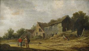 Landschap met figuren voor boerderijen