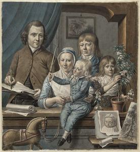 Zelfportret van Warnaar Horstink (1756-1815) met zijn gezin