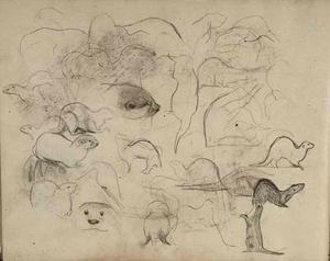 Schetsboekblad met schetsen van otters