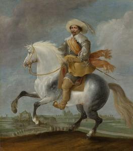Prins Frederik Hendrik te paard voor de vesting 's Hertogenbosch, 1629