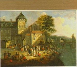 Landschap met handelaars bij een aanlegplaats; op de achtergrond een stad