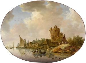 Dorp met een ronde toren aan een rivier