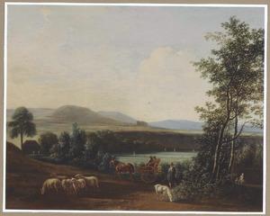 Weids heuvellandschap met een rijtuig en een herder met zijn kudde