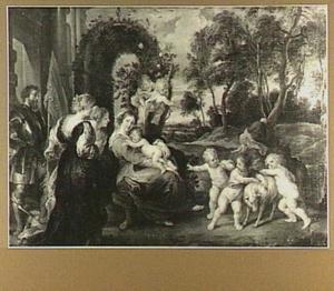 De Heilige familie met heiligen en putti in een landschap