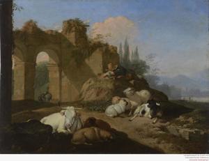 De Namiddag: slapende herder met zijn vee nabij een ruïne