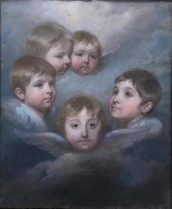 Portret van vijf kinderen als cherubijntjes, mogelijk de klinderen van Jan Pieter van Wickevoort Crommelin (1763-1837) en Catharina van Lennep (1766-1847)