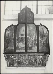 De intrede van Christus in Jeruzalem, de Gregoriusmis, Arma Christi (buitenzijde linkerluik); Arma Christi, de Gregoriusmis, Christus in Gethesame (buitenzijde rechterluik)